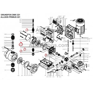 Kit, Diaphragm / Valve parts DMX 220,221. Head size 2. Alldos 553-521
